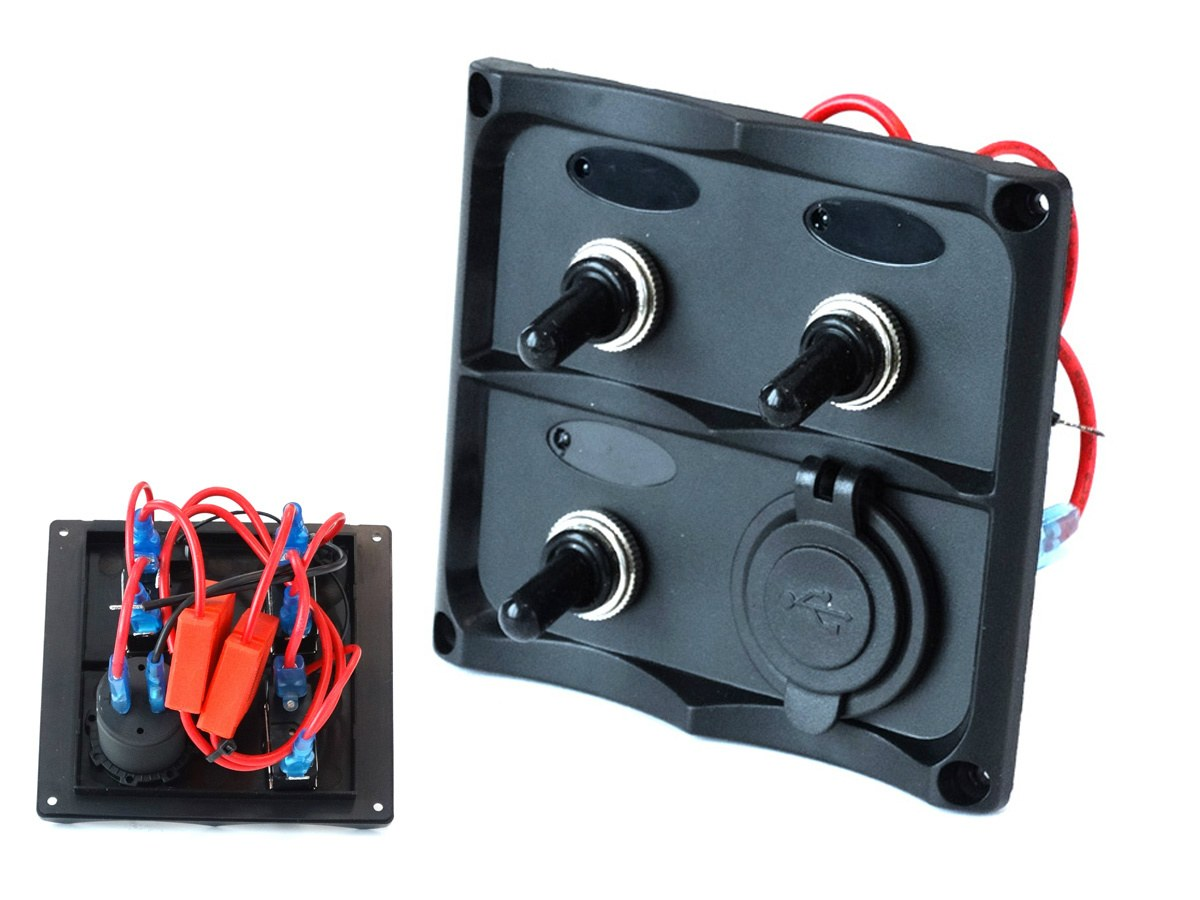 Panel przełączników 12V SPST/ON-OFFx3, 2xUSB, 2B 15A IP68 - GRUBYGARAGE - Sklep Tuningowy